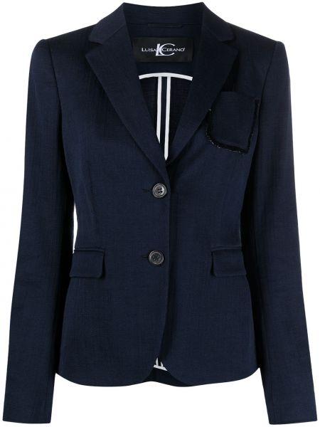 Однобортный синий удлиненный пиджак с карманами Luisa Cerano