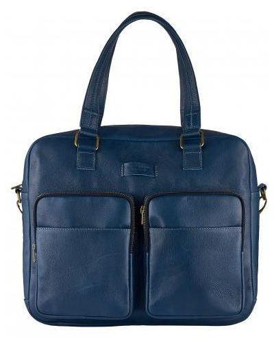 Кожаный портфель - синий Vittorio Safino