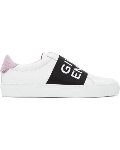 Skórzany czarny skórzane sneakersy okrągły na pięcie Givenchy