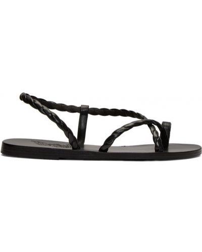 Otwarty skórzany czarny sandały grecki na pięcie Ancient Greek Sandals