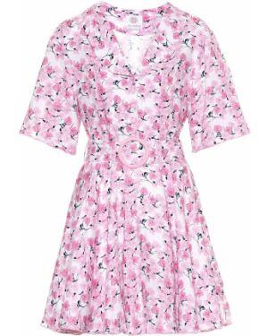 Розовое льняное платье мини винтажное Gül Hürgel