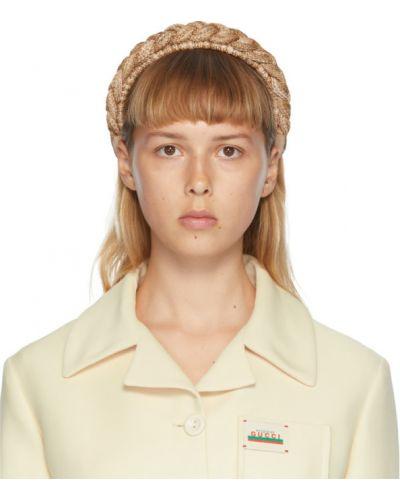 Słoma beżowy opaska na głowę z haftem Gucci