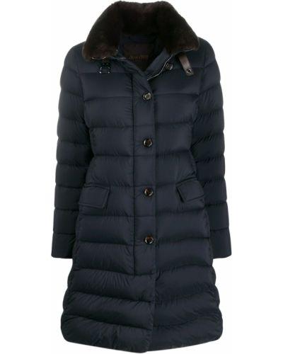 Прямое синее длинное пальто с воротником Moorer