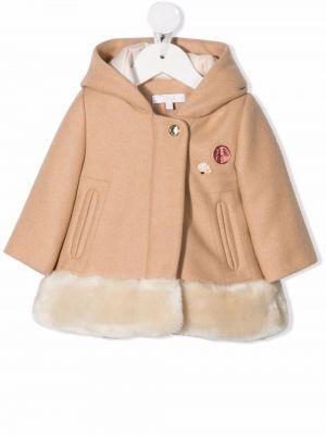 Beżowy długi płaszcz z kapturem Chloé Kids