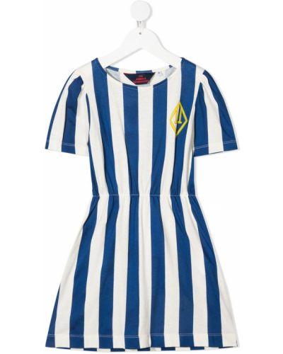 Niebieska sukienka mini z falbanami krótki rękaw The Animals Observatory