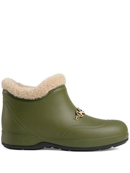 Zielony wełniany buty okrągły okrągły nos Gucci