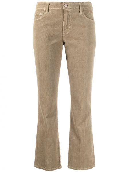 С завышенной талией коричневые укороченные брюки вельветовые J Brand