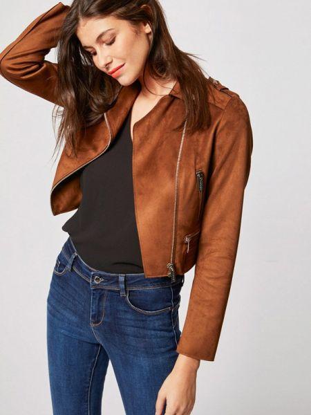 Кожаная куртка весенняя коричневая Morgan