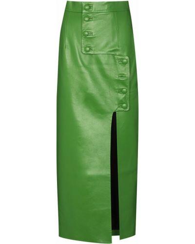 Зеленая юбка карандаш на пуговицах из искусственной кожи Matériel