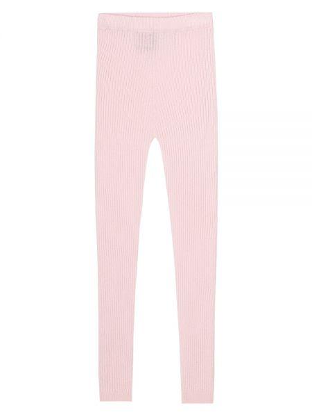 Ciepłe różowe legginsy skorzane Loro Piana Kids