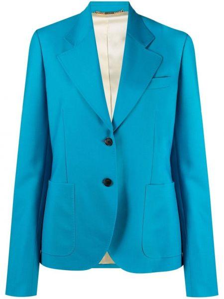 Однобортный синий удлиненный пиджак с карманами Versace