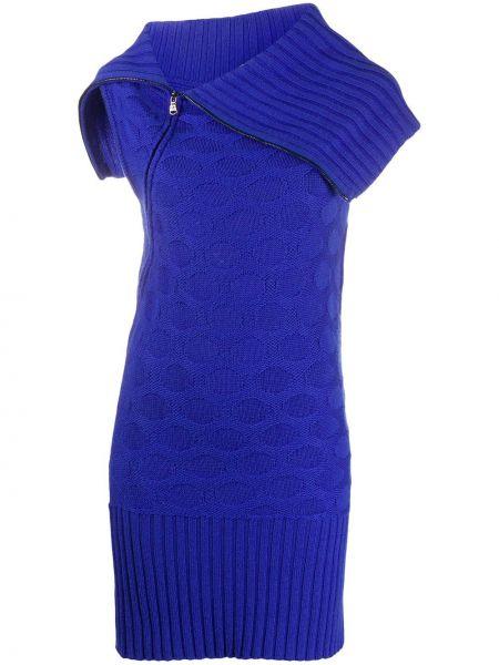 Платье в рубчик с воротником без рукавов на молнии Versace Pre-owned