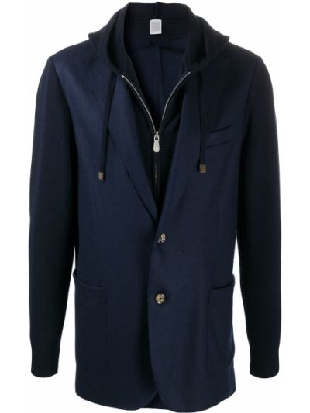 Классический синий классический пиджак на молнии с лацканами Eleventy
