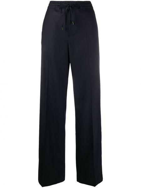 Синие шерстяные прямые брюки с карманами Maison Margiela