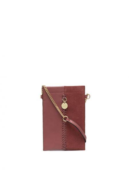 Brązowy bawełna z paskiem skórzany portfel See By Chloe