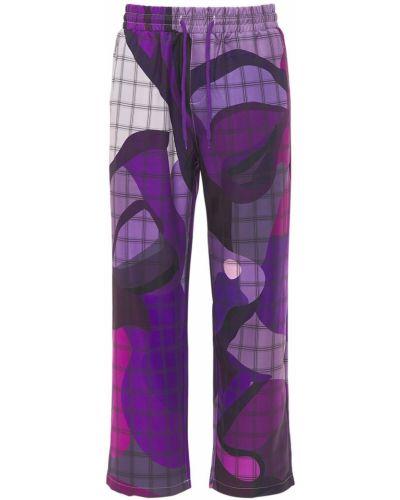 Fioletowe spodnie z haftem Kidsuper Studios