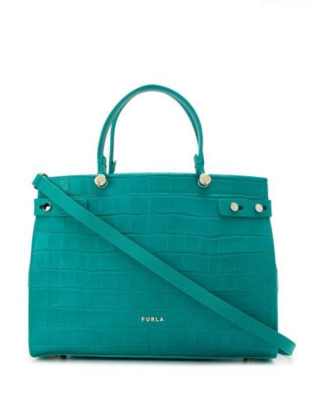 Кожаная зеленая сумка-тоут круглая Furla