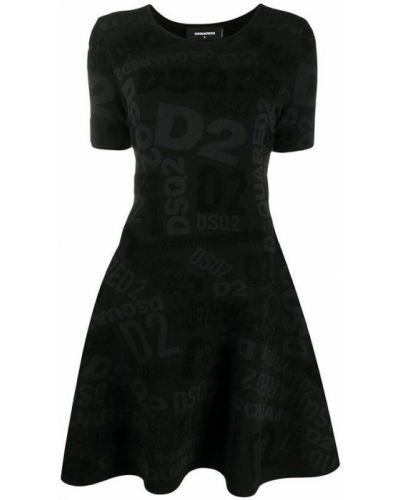 Czarna sukienka mini na co dzień krótki rękaw Dsquared2