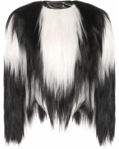 Czarny kurtka prążkowany z prawdziwej skóry Givenchy