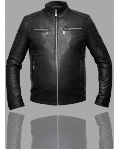 Кожаная куртка на молнии - черная Kasi