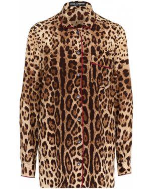 Блузка с длинным рукавом с леопардовым принтом шелковая Dolce & Gabbana