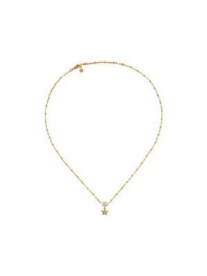 Żółty złoty naszyjnik z diamentem Gucci