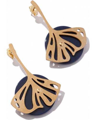 Золотые серьги деревянные позолоченные Exclaim