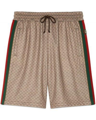 Beżowe szorty bawełniane z printem Gucci