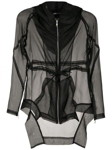 Шелковая черная куртка с капюшоном на молнии с манжетами Uma   Raquel Davidowicz