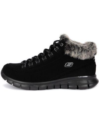 Черные сапоги из натуральной кожи на шнуровке Skechers