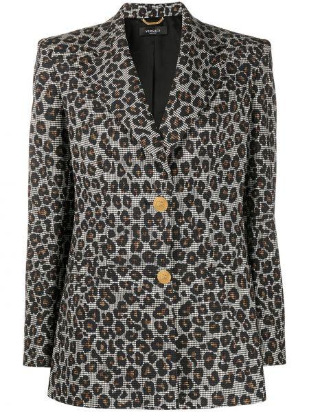Шерстяной черный удлиненный пиджак с карманами Versace