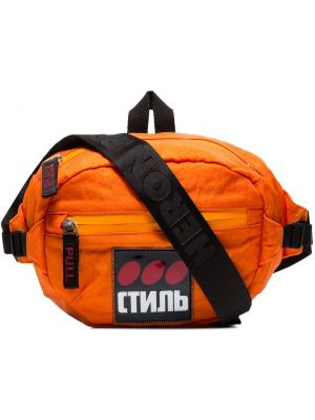 Оранжевая поясная сумка с нашивками Heron Preston
