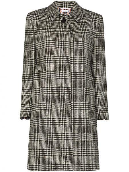 Шерстяное черное пальто классическое с воротником Thom Browne