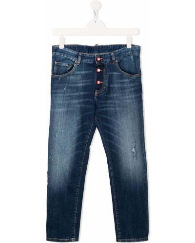 Кожаные прямые джинсы на пуговицах Dsquared2 Kids