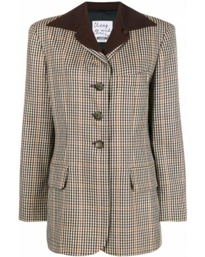 Классический пиджак в клетку шерстяной Moschino Pre-owned