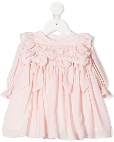 Розовое платье с рукавами круглое с круглым вырезом с длинными рукавами Patachou