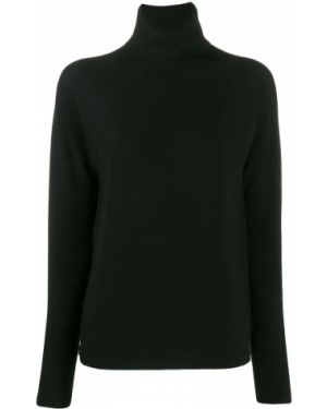 Черный свитер со спущенными плечами в рубчик Molli