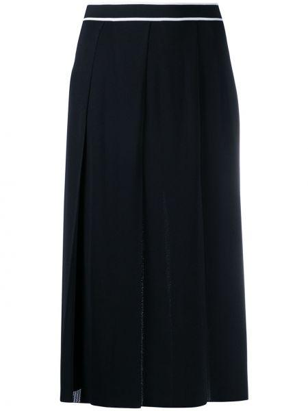 Pofałdowany czarny spódnica midi za pełne z wiskozy Gucci