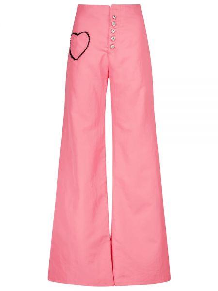Хлопковые розовые брюки свободного кроя Rodarte