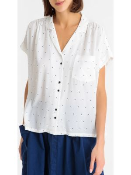 Блузка с коротким рукавом с рисунком из вискозы с карманами с короткими рукавами Harris Wilson