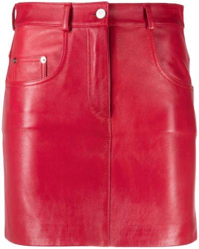 С завышенной талией красная кожаная юбка Manokhi