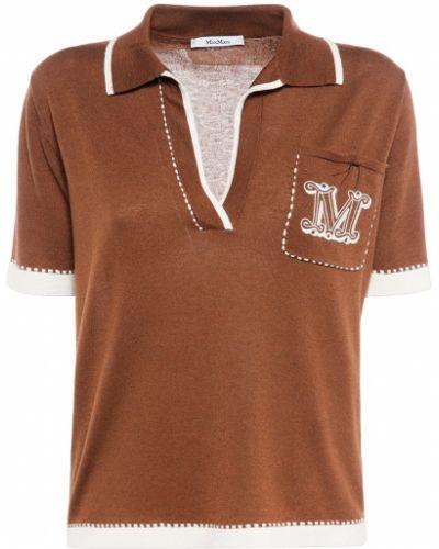 Коричневый шелковый поло с карманами Max Mara