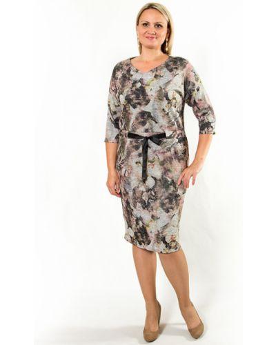 Платье в цветочный принт - серое Virgi Style
