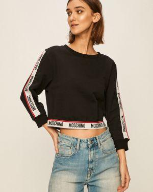 Czarna bluza z kapturem bawełniana Moschino Underwear