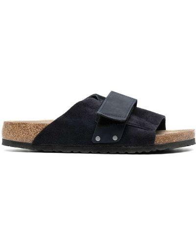 Z paskiem niebieski skórzany sandały Birkenstock