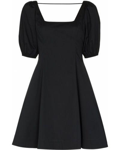 Хлопковое черное платье мини на молнии Staud