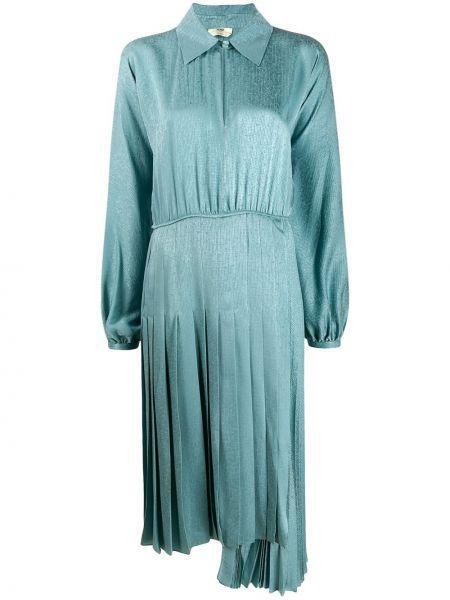 Шелковое синее платье макси с вышивкой Fendi