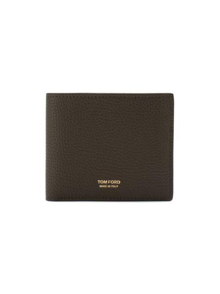 Кожаный кошелек хаки с тиснением Tom Ford