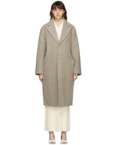 Beżowy długi płaszcz wełniany z długimi rękawami Jacquemus