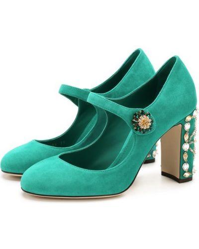 Туфли на каблуке кожаные замшевые Dolce & Gabbana